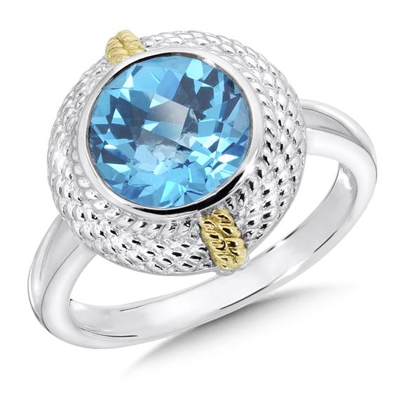 SS/Gold Rings - Lady's Sterling Silver/18 Karat Gold  Ring With One Round Checkerboard Cut Bezel Set Blue Topaz Stone Size 7