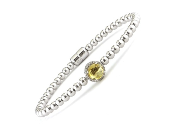 Silver Bracelet w/Colored Stones - Lady's Silver Soft Bangle Bracelet With One 1.17Ct Round Citrine And 18=0.06Tw Round Diamonds