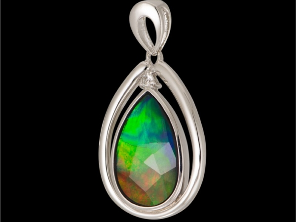 Silver Gemstones Pendant  - KORITE SP3212WF-AM-T4-QZ Sterling Silver Drop Pendant With One Pear Ammolite And One Round Sapphire