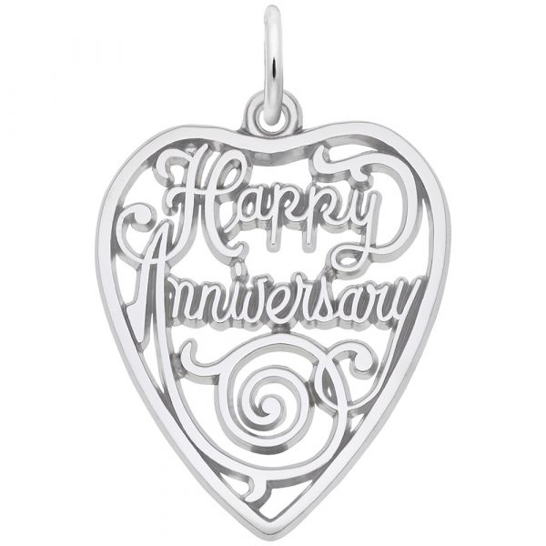 Charm - Lady's White Sterling Silver Happy Anniversary Charm