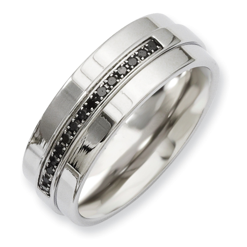 Stainless Steel Gent's Ring - Gent's Stainless Steel Gent's Ring With 15= Round Black Diamonds, Gender: Male, Metal Type: Stainless Steel, Size: 9