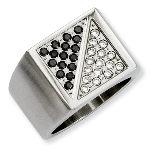 Stainless Steel Gent's Ring - Gent's Stainless Steel Gent's Ring With 16= Round Black Diamonds And 16= Round Diamonds, Gender: Male, Metal Type: Stainless Steel, Size: 9