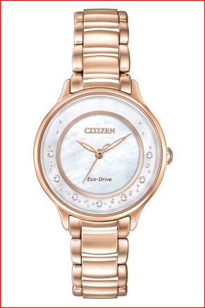 Ladies Watch - CITIZEN ECO-DRIVE EM0382-86D CIRCLE OF TIME This timepiece encompasses all the opulence and style of the Citizen L series. Brilliant sparkling diamonds, mother-of-pearl dial and playfully positioned indices are just a few of the features on this Citizen L Circle of Time watch. Shown here in a rose gold-tone stainless steel case and bracelet with white Mother-of-Pearl dial. WATCH FEATURES Movement Eco-Drive E031 Functions~093 Hand Band Rose Gold-Tone Stainless Steel Bracelet, Deployment Clasp wit