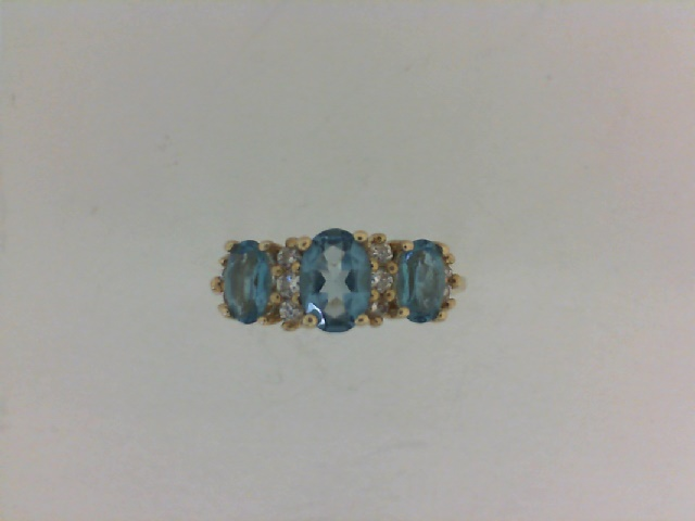 001-907-00056 - Estate 14K Yellow Gold Ring Size 6.5 2.6g (ESTATE ITEMS ARE PRE OWNED AND SOLD AS IS, HALF OFF ITEMS ARE NOT RETURNABLE) one 0.50ct Oval Blue Topaz 2=0.50tw Oval Blue Topazs 10=0.05tw Round Diamonds