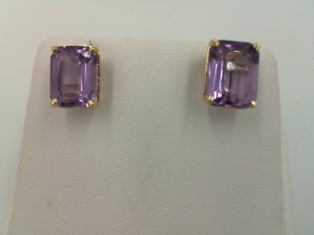 001-909-00015 - Lady's Yellow 14 Karat Stud Earrings With 2=8.00X6.00Mm Emerald Amethysts, 1.4g, (ESTATE ITEMS ARE PRE OWNED AND SOLD AS IS, HALF OFF ITEMS ARE NOT RETURNABLE)