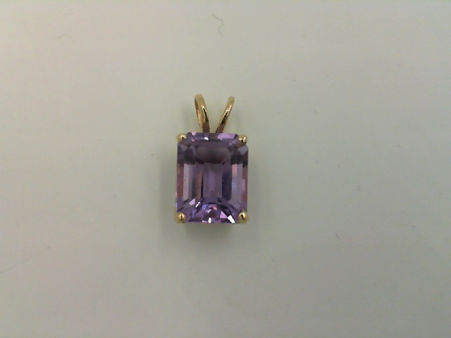 001-912-00004 - Lady's Yellow 14 Karat Drop Pendants With One 9.00X7.00Mm Emerald Amethyst HALF OFF ITEMS ARE NOT RETURNABLE