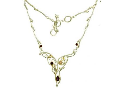 Michou Gemstone Necklace - Sterling Silver and 22K Gold Vermeil Necklace with African Amethyst, Imperial Pink Topaz, Rhodolite Garnet, Rainbow Moonstone and White Pearl