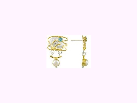 Michou Gemstone Earrings - Two Tone 925 Silver & 22 Kt Yellow Gold, Blue Topaz, Mabe Pearls