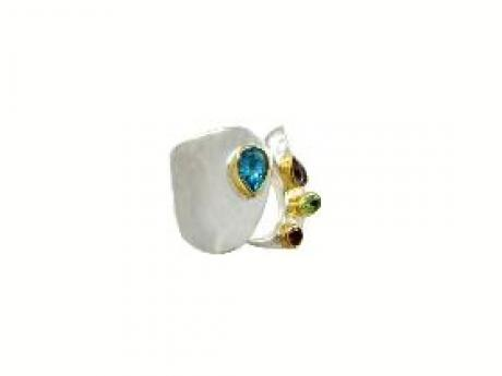Michou Wide Band Gemstone Ring - Contemporary wide band free form sterling silver ring with 22K gold accents set with blue topaz, amethyst, peridot and rhodolite garnet.