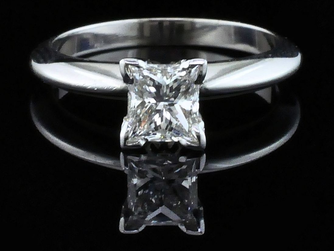 Diamond Engagement Rings - Princess Cut Diamond Solitaire Engagement Ring