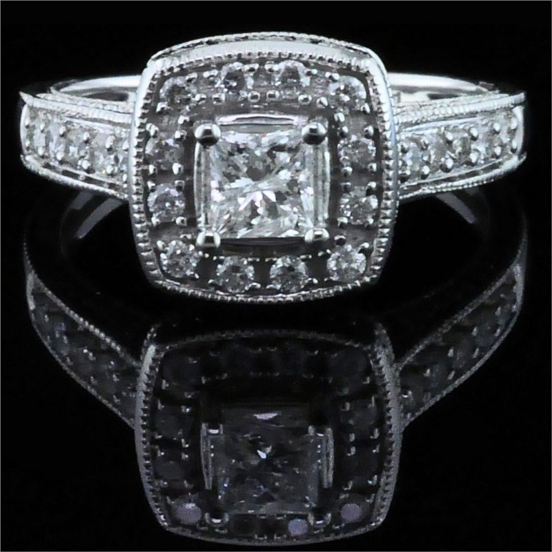 Diamond Engagement Rings - Princess Cut Diamond Wedding Set - image #4