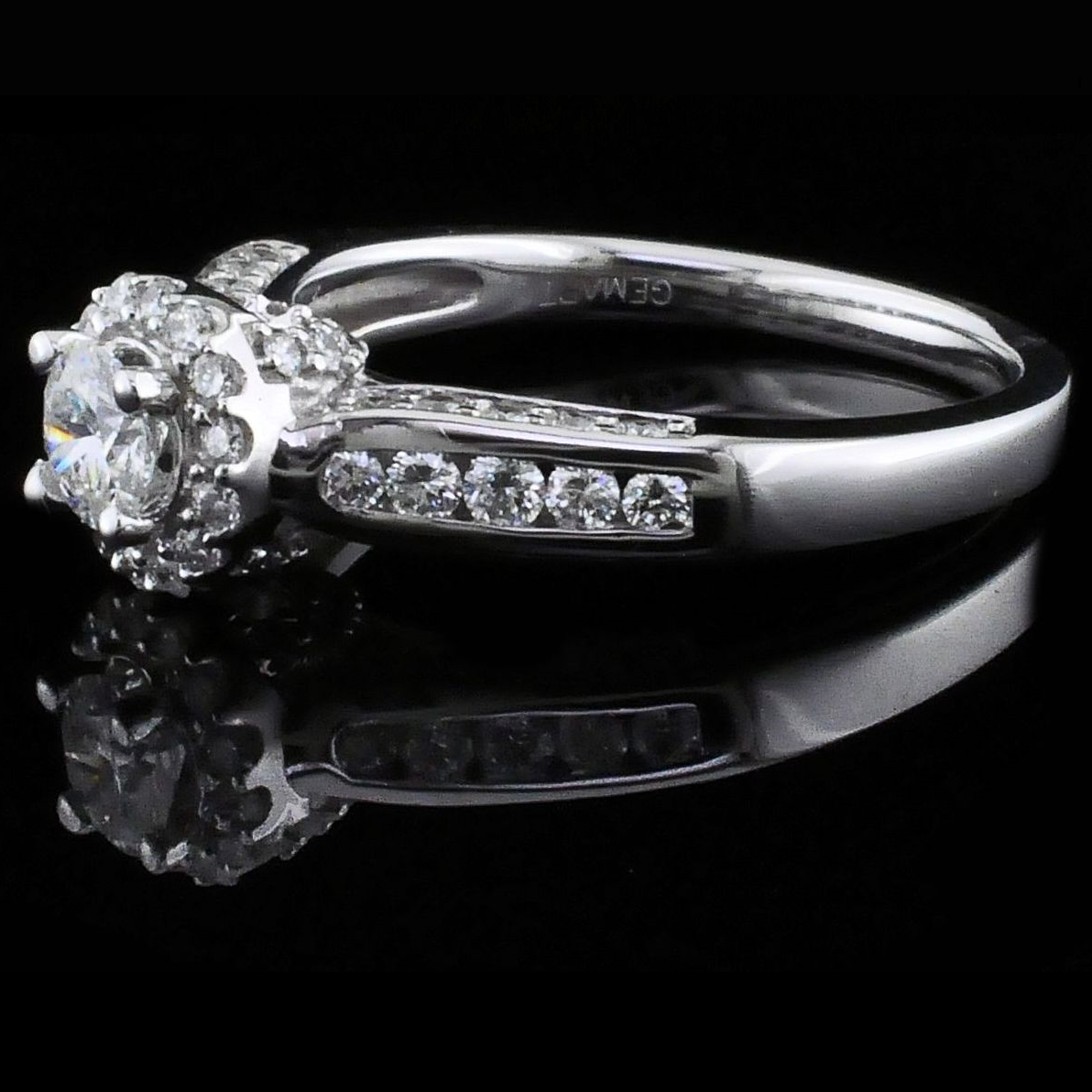 Diamond Engagement Rings - Halo Style Diamond Engagement Ring - image #2