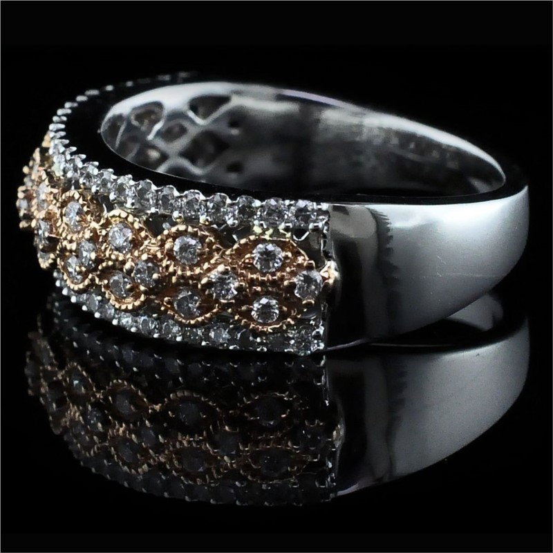 Women's Diamond Wedding Bands - Rose and White Gold Wedding Band - image #2