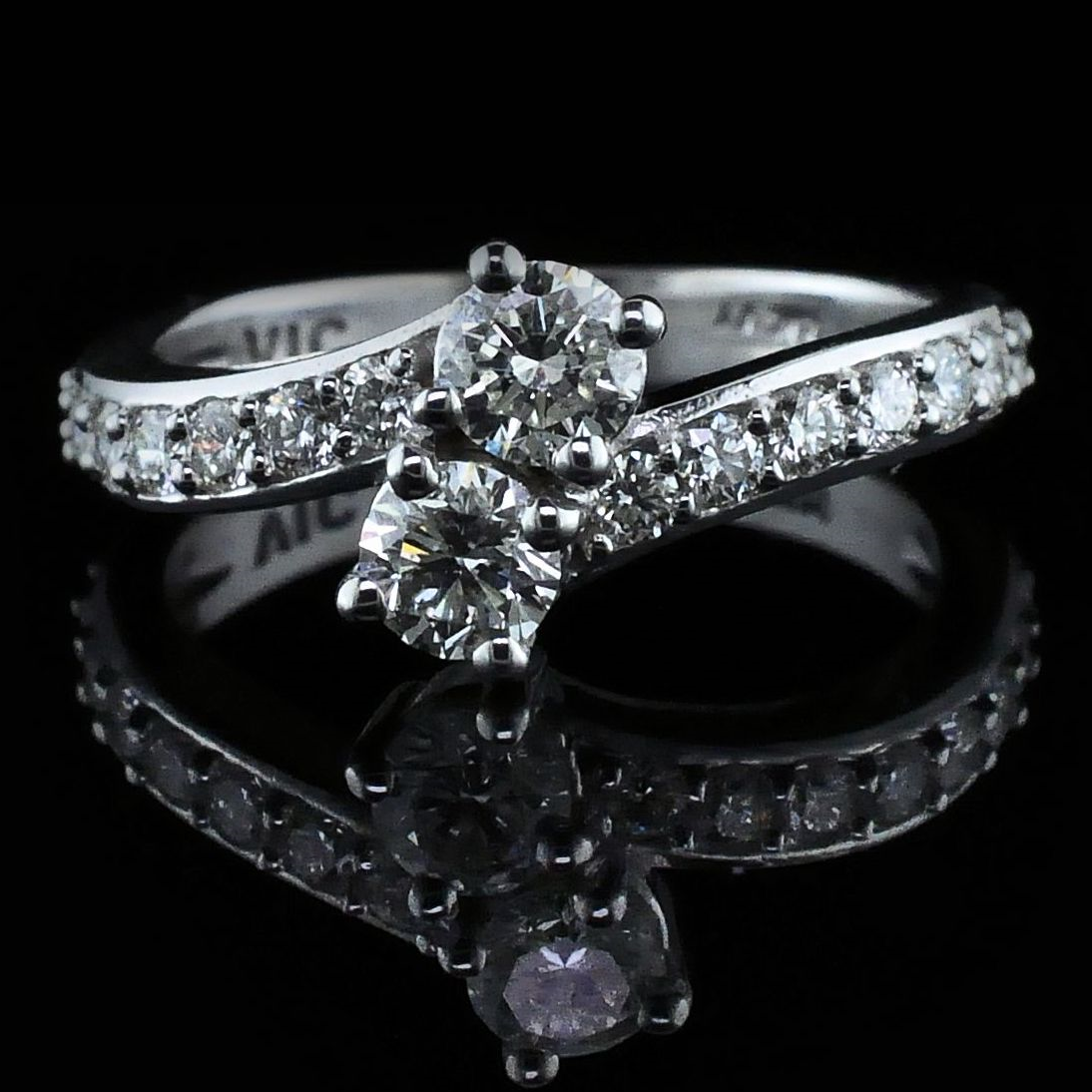 Women's Diamond Fashion Rings - Ladies 2-Stone Diamond Ring