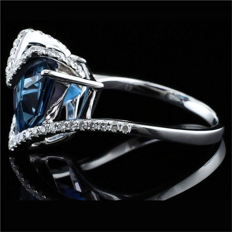 Women's Colored Stone Rings - Ladies London Blue Topaz and Diamond Fashion Ring - image #2