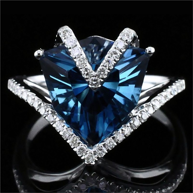 Women's Colored Stone Rings - Ladies London Blue Topaz and Diamond Fashion Ring