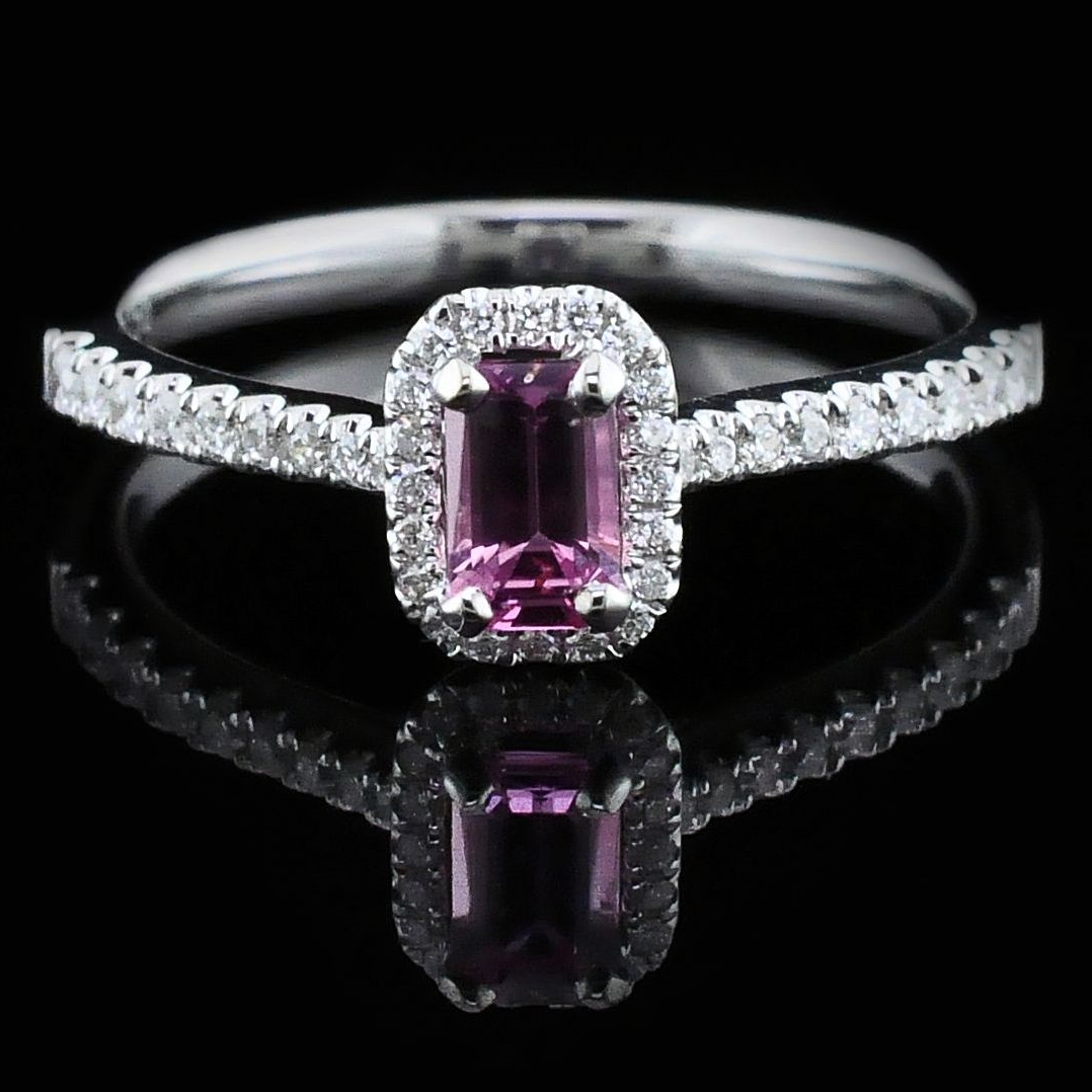 Women's Colored Stone Rings - Ladies Pink Sapphire and Diamond Fashion Ring