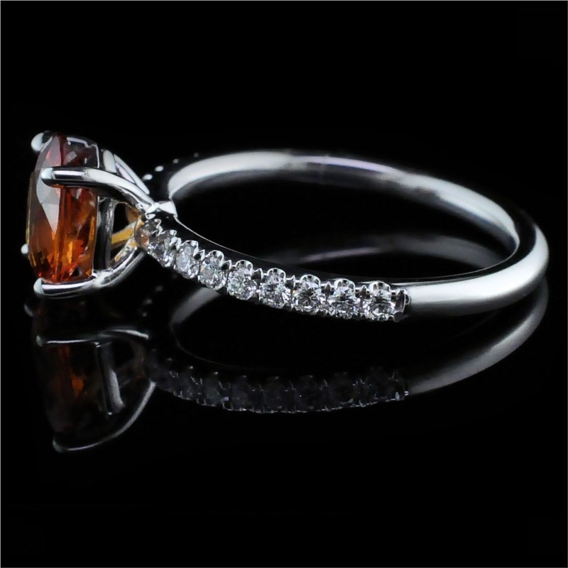 Women's Colored Stone Rings - Ladies 18K, Fire Ruby and Diamond Ring - image #2