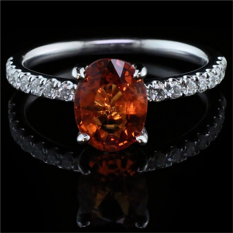 Women's Colored Stone Rings - Ladies 18K, Fire Ruby and Diamond Ring