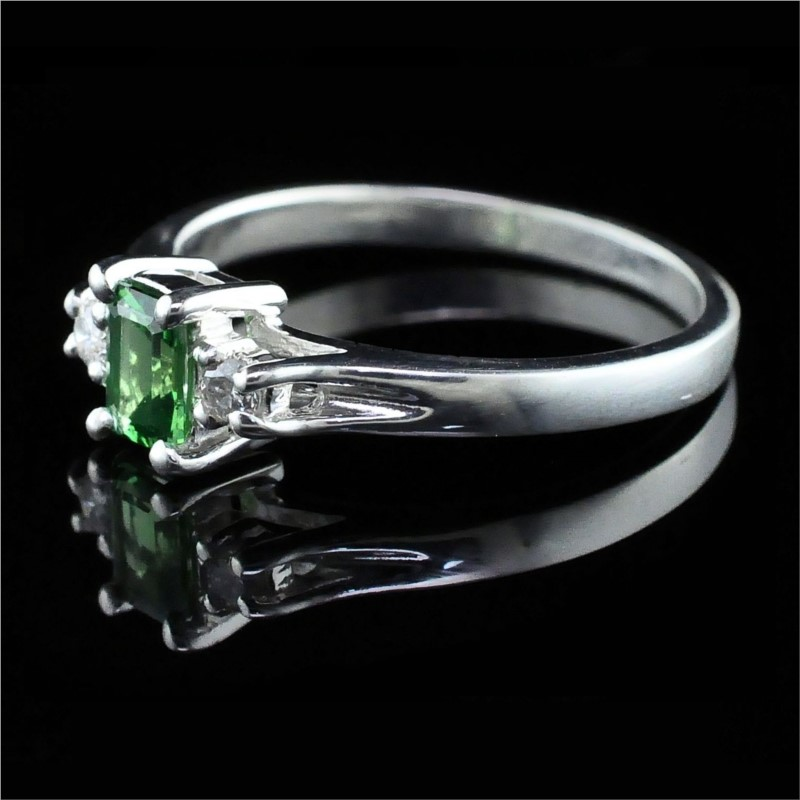 Silver Rings With Stones - Tsavorite Garnet And Diamond Three Stone Ring - image 2