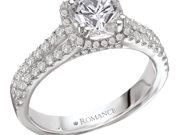 Engagement Rings - Split V Shank Halo Diamond Ring