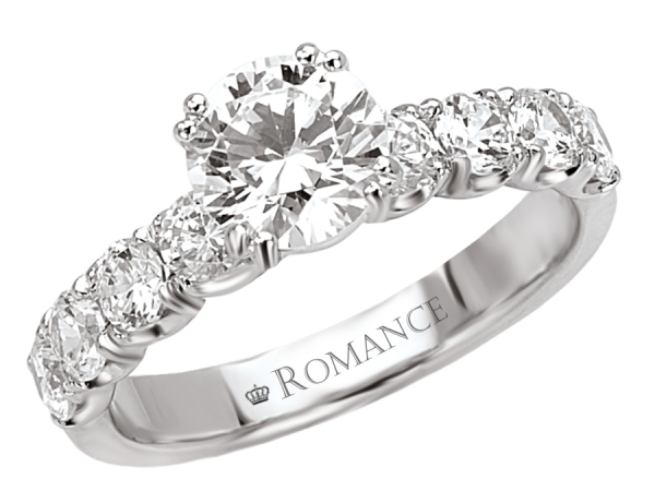Engagement Rings - 8-Stone Round Diamond Ring in 18kt White Gold