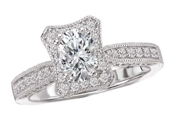 Engagement Rings - Diamond Ring in 18kt White Gold with a Concave Halo