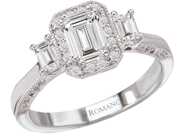Engagement Rings - 18kt White Gold Diamond Ring with Round and Baguette Stones and Milgrain Detail