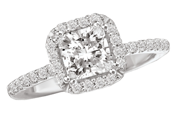 Engagement Rings - Princess Style Halo Diamond Ring in 18kt White Gold