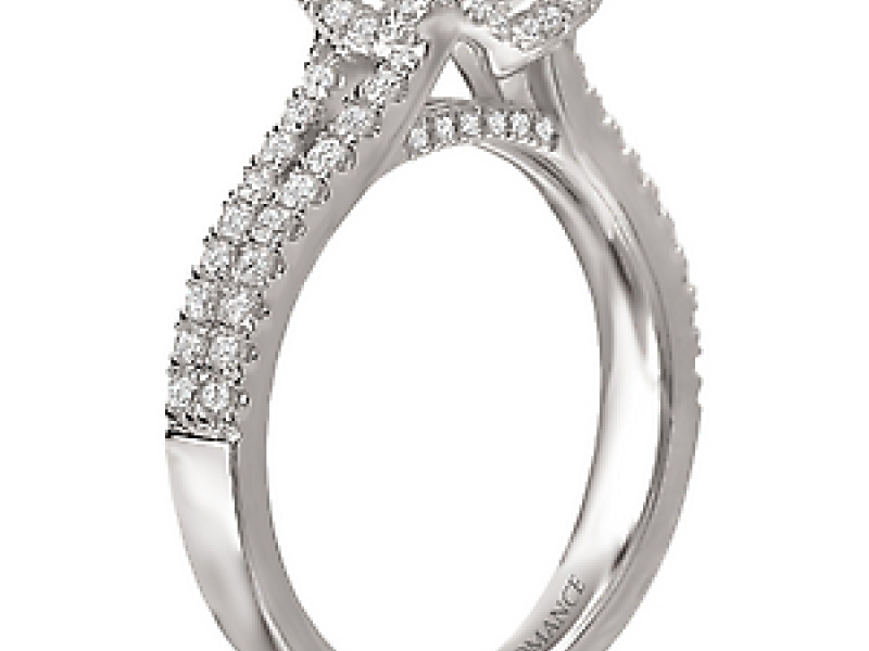 Engagement Rings - Split V Shank Halo Diamond Ring - image #2