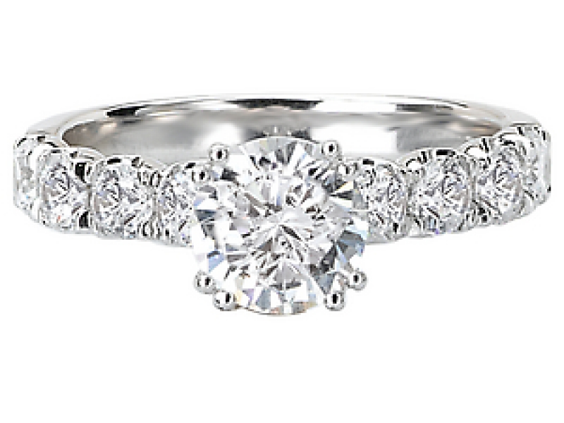 Engagement Rings - 8-Stone Round Diamond Ring in 18kt White Gold - image #2