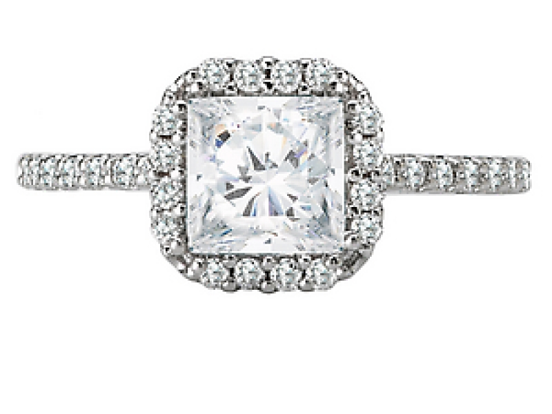 Engagement Rings - Princess Style Halo Diamond Ring in 18kt White Gold - image #2