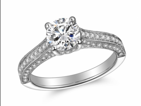 Engagement Rings - 14K White Gold Pave Solitaire Ring