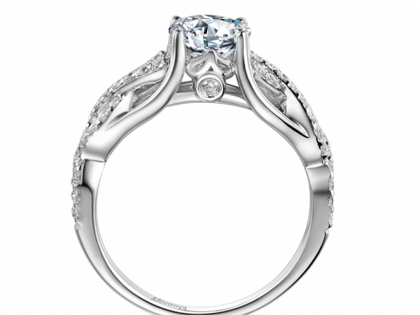 Engagement Rings - 14k White Gold Wrapped Diamond Ring - image #2