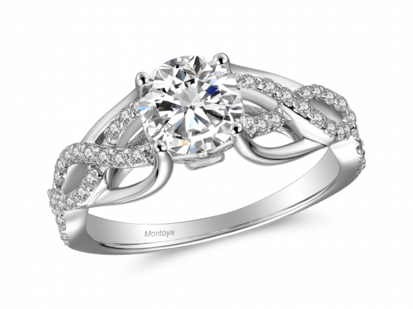 Engagement Rings - 14k White Gold Wrapped Diamond Ring
