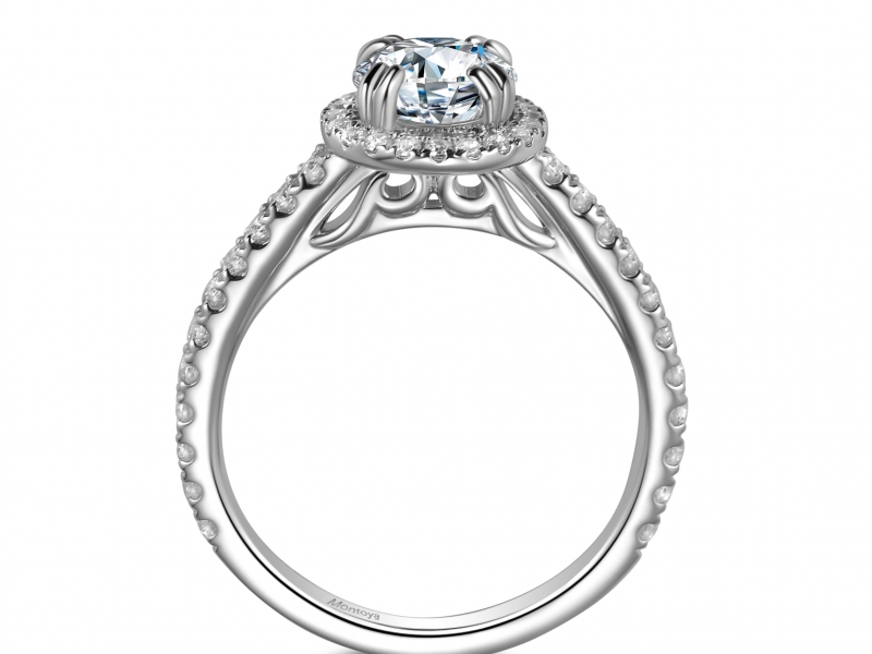 Engagement Rings - 14k White Gold Round Halo - image #2