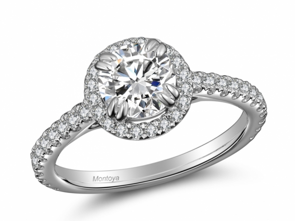 Engagement Rings - 14k White Gold Round Halo