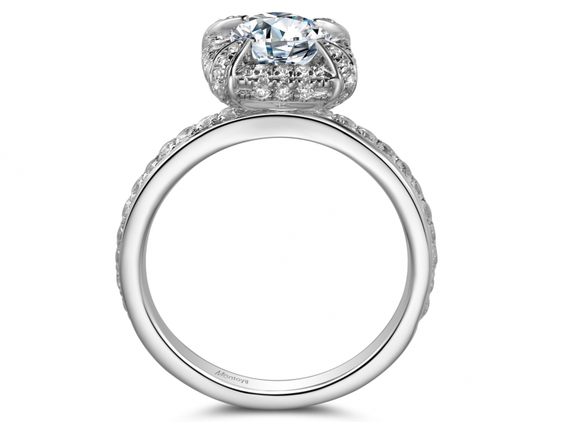 Engagement Rings - 14k White Gold Princess Halo - image #2