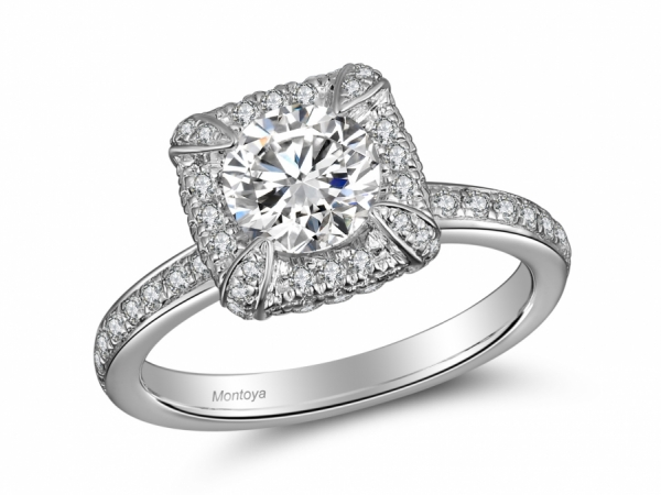 Engagement Rings - 14k White Gold Princess Halo