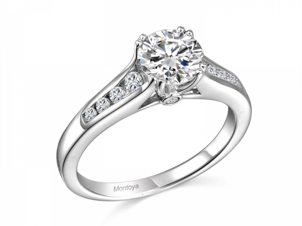 Engagement Rings - 14K Solitare Ring w/ Channel Side Stones