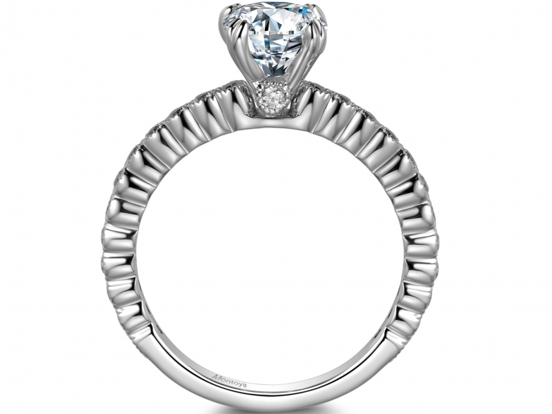 Engagement Rings - 14k White Gold Solitaire Ring with 1/2 Eternity Band - image #2