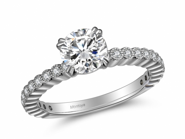 Engagement Rings - 14k White Gold Solitaire Ring with 1/2 Eternity Band