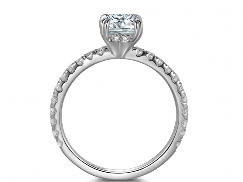 Engagement Rings - 14k White Gold Emerald Ring - image 2