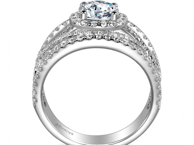 Engagement Rings - 14k White Gold Wide Lace Band - image #2