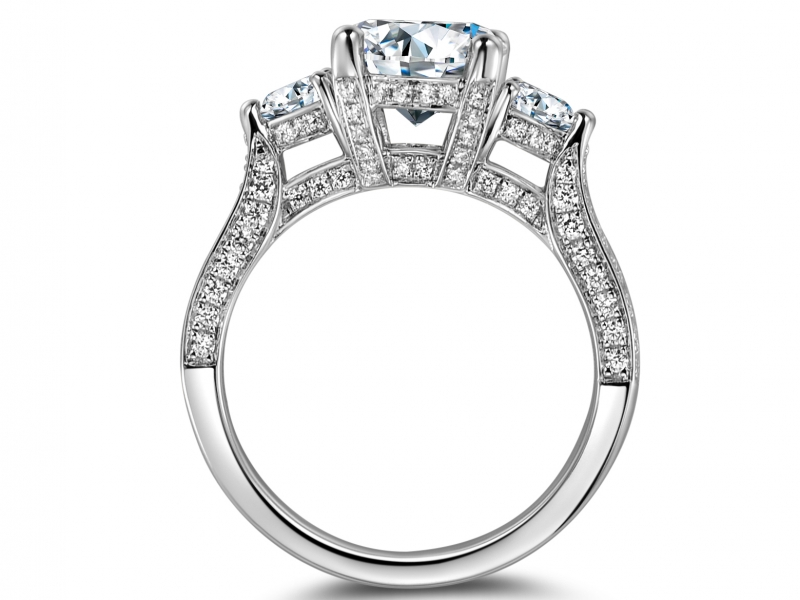 Engagement Rings - 14k White Gold Three Stone Ring - image #2