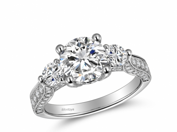 Engagement Rings - 14k White Gold Three Stone Ring