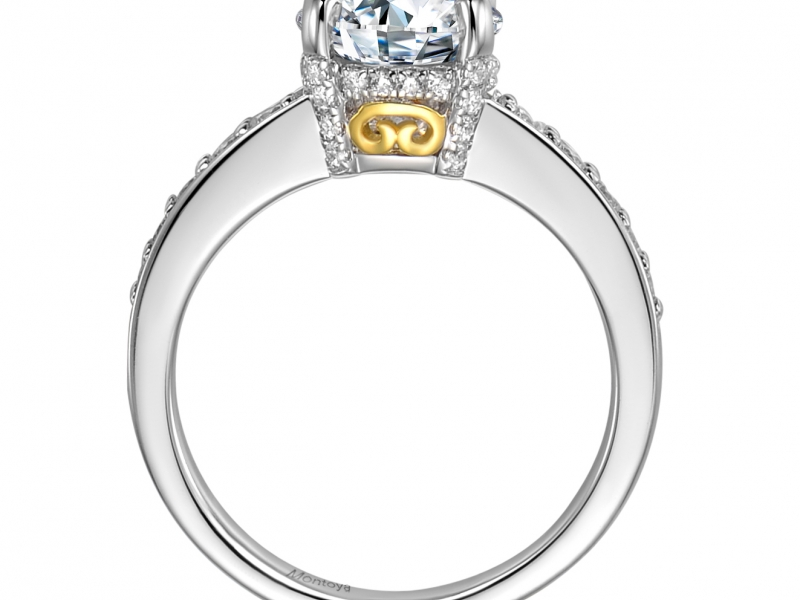 Engagement Rings - 14k White Gold Diamond Solitaire with Yellow Gold Detail - image #2