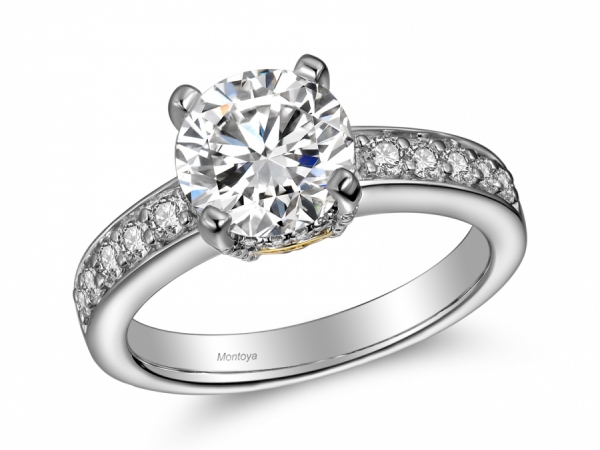 Engagement Rings - 14k White Gold Diamond Solitaire with Yellow Gold Detail