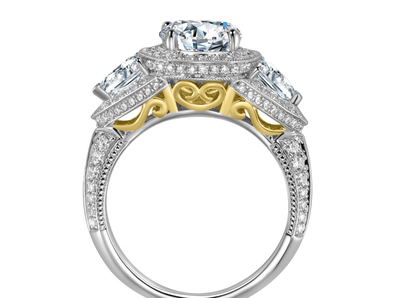 Engagement Rings - 3 Stone Trillion Diamond Ring (Classic) - image #2