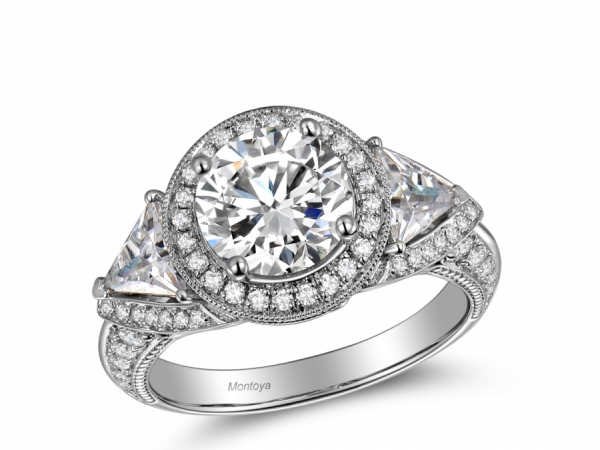 Engagement Rings - 3 Stone Trillion Diamond Ring (Classic)